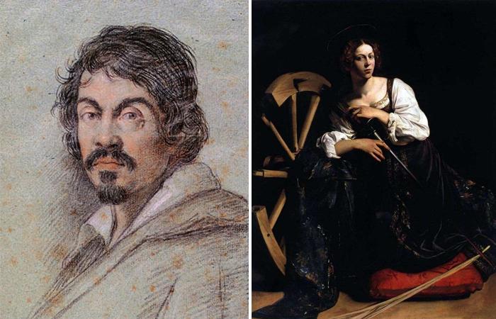 Портрет Караваджо и его картина «Святая Екатерина Алекcандрийcкая»