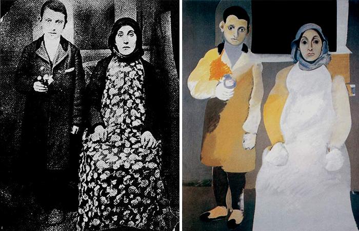 Фотография Аршила Горки с мамой (1912) и картина «Художник и его мать» (1926–1936)