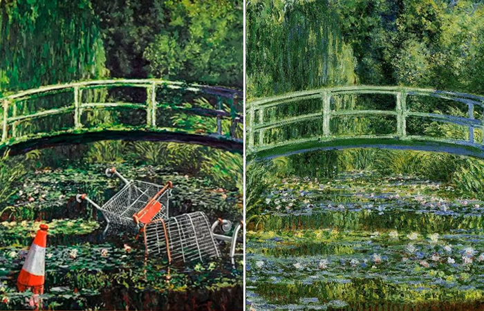 «Покажи мне Моне» Бэнкси (2005) / «Японский мостик» («Пруд с водяными лилиями») Клод Моне (1897 – 1899)