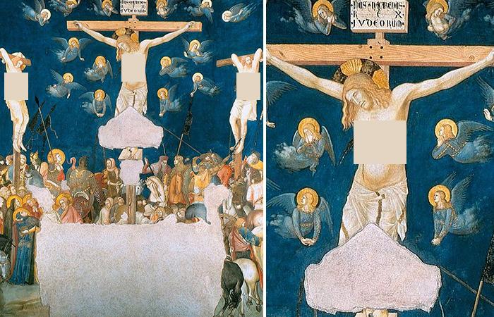 Пьетро Лоренцетти «Распятие» фреска. 1320 г. Церковь Сан Франческо, Ассизи