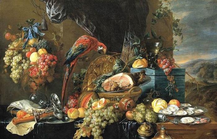 Ян Давидс де Хем «Роскошный натюрморт с попугаем»