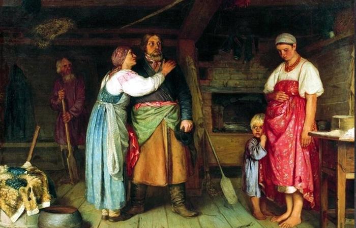 Фирс Журавлёв «Приезд извозчика на родину», 1868 год / Фото: bibliotekar.ru