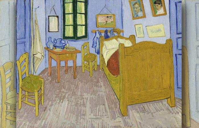 «Спальня в Арле», Третья версия, конец сентября 1889 г. Холст, масло, 57,5 x 74 см, Музей Орсе, Париж.