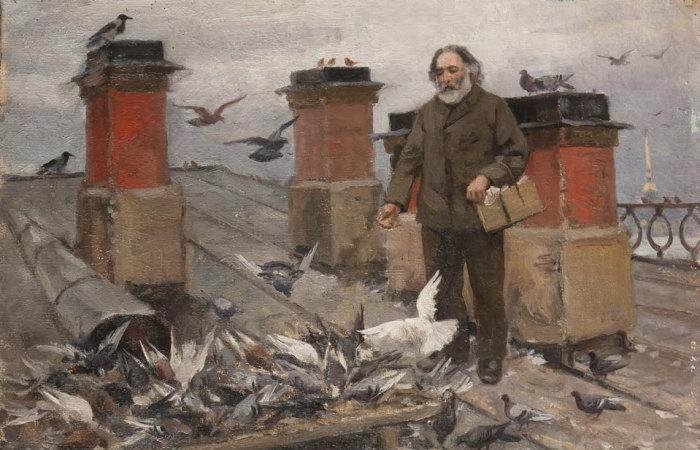 И.А. Владимиров. Куинджи Архип Иванович кормит пернатых друзей. 1910