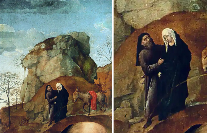 Хуго ван дер Гус «Мария и Иосиф на пути в Вифлеем» (алтарь Портинари), Галерея Уффици, Флоренция