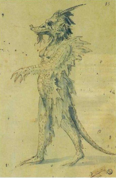 Эскиз костюма морского дракона ок. 1570;  29x19 см Кабинет рисунков и гравюр, Флоренция
