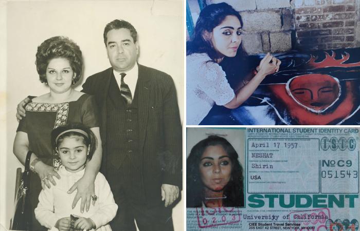 Ширин Нешат с родителями / Международное удостоверение студента Нешат / Ширин Нешат с одной из своих картин (конец 80-х гг)