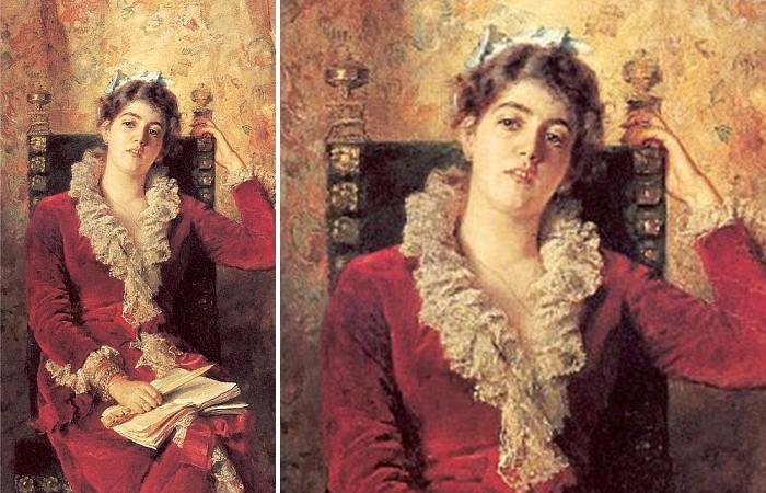 Работа Маковского «Портрет жены художника. Юлия Маковская» (1881)