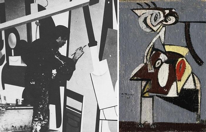 Аршил Горки за работой при создании одной из панелей фрески в аэропорте Ньюарк (1936) и его картина «Дитя идумейской ночи» (1936)