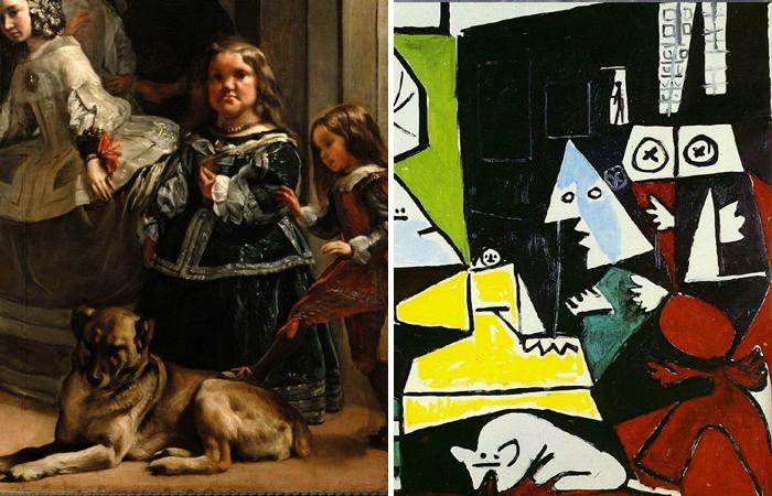Фрагмент с собакой в двух версиях Веласкеса и Пикассо