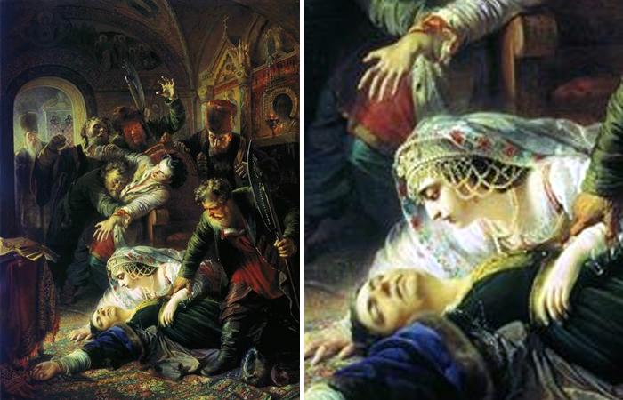 Картина Маковского «Агенты Дмитрия Самозванца убивают сына Бориса Годунова» (1862)