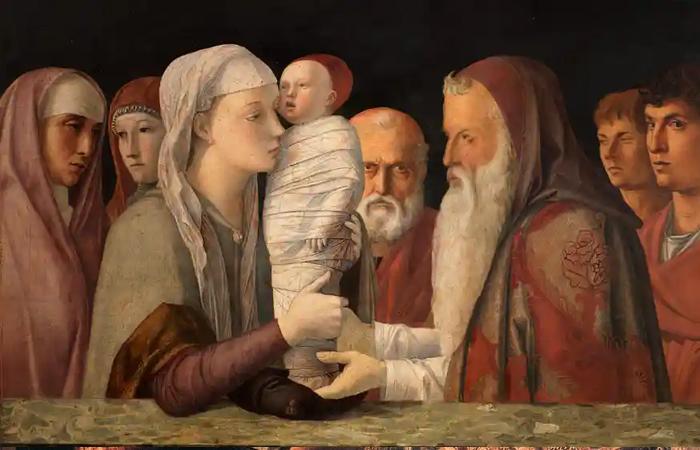 «Принесение во храм» Беллини - явная имитация более ранней работы Мантеньи (1460 – 1464)
