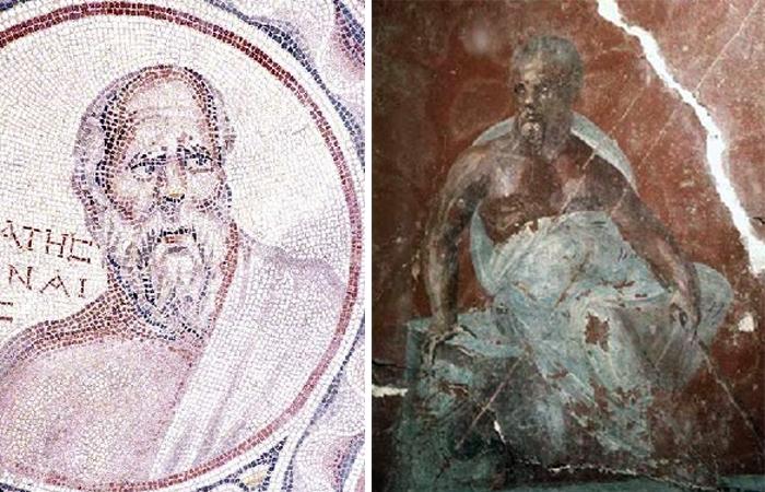 Мозаика Сократа среди семи мудрецов, Баальбек, Музей Бейро / Портрет Сократа в римском доме, Эфес