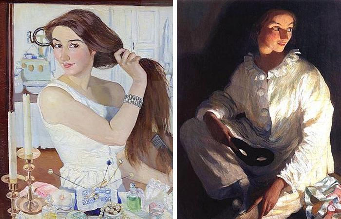 Зинаида Серебрякова «За туалетом» Автопортрет (1909) / Автопортрет в костюме Пьеро (1911)