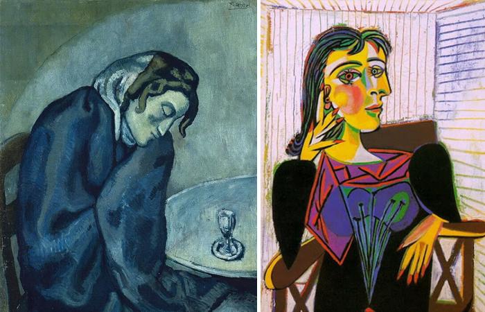Картины Пабло Пикассо: «Пьяная уставшая женщина» 1902 / «Портрет Доры Маар» 1937