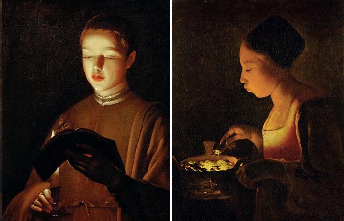 Жорж де Латур «Юный певец (мастерская)» и «Девушка, раздувающая в жаровне огонь»