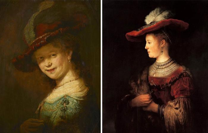 «Смеющаяся Саския» и «Портрет Саскии в красной шляпе»