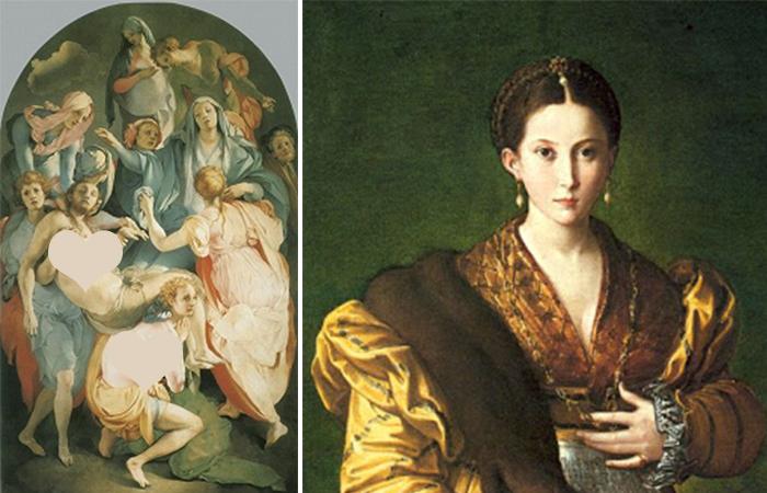 Работы маньеристов: Понтормо «Положение во гроб» (1525-1528). Флоренция, церковь Санта Феличита /  Пармиджанино «Антея» (1534-1535) Неаполь, музей Каподимонте.