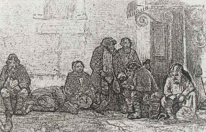 Гравюра с первого варианта картины «Земство обедает» (1873)