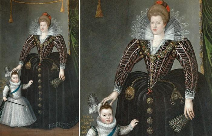 «Мария де Медичи и ее сын дофин» (будущий Людовик XIII) - Шарль Мартен, 1603 год