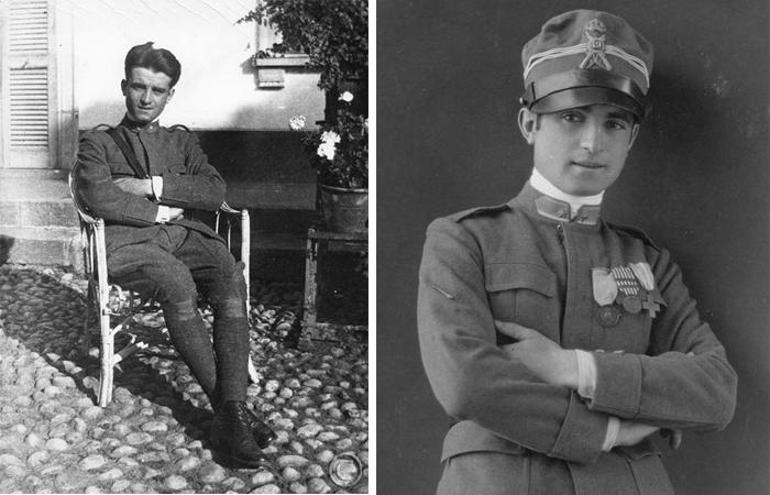 Лучо Фонтана в офицерской форме 1917-1918 гг. / Фонтана с серебряной медалью за военную кампанию, 1917-1918 гг. / Фото: fondazioneluciofontana.it