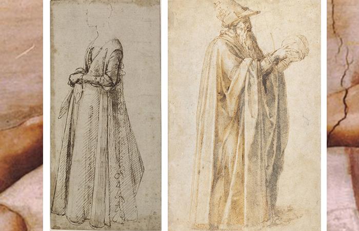 Слева: рисунок Доменико Гирландайо «Стоящая женщина» (1485-90), справа - работа Микеланджело «Старик в шляпе» (1495-1500)