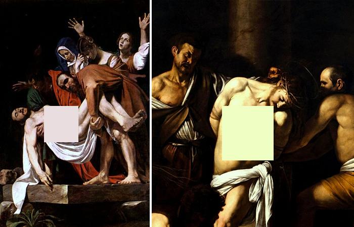 Караваджо «Положение во гроб» (1603) / «Бичевание Христа» 1607