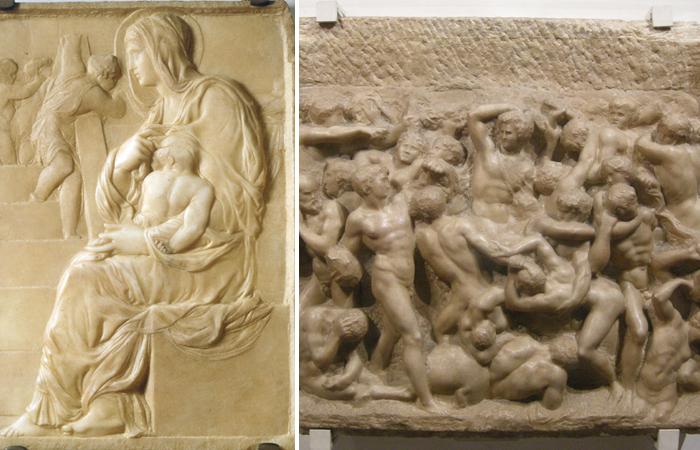 Работы Микеланджело «Мадонна у лестницы» (1491) и «Битва кентавров» (1492)