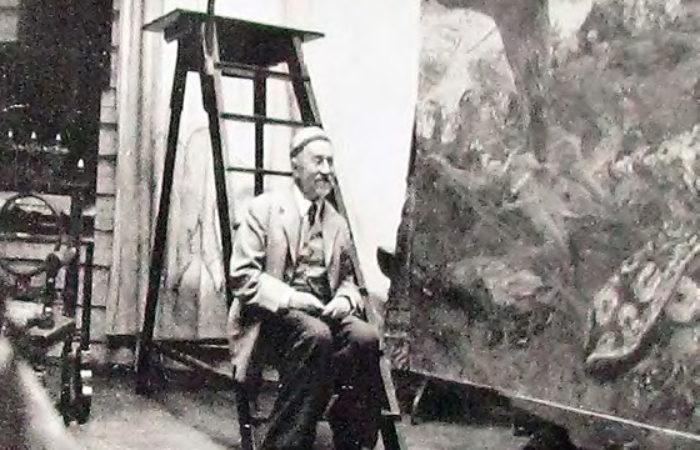 Илья Репин с картиной «Гопак». Фотография. 1927 г.