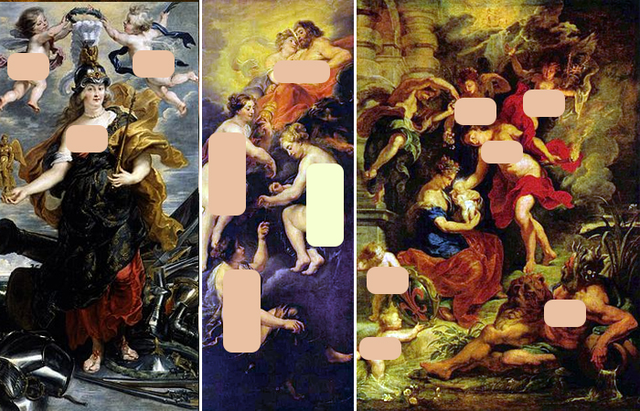 Работы Рубенса: «Мария Медичи в образе Минервы» / «Судьба Марии Медичи» / «Рождение Марии Медичи»