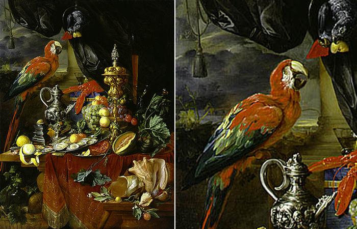 «Натюрморт с попугаем» Ян Давидс де Хем