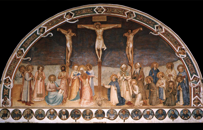 Распятие и святые. Фреска монастыря Сан-Марко