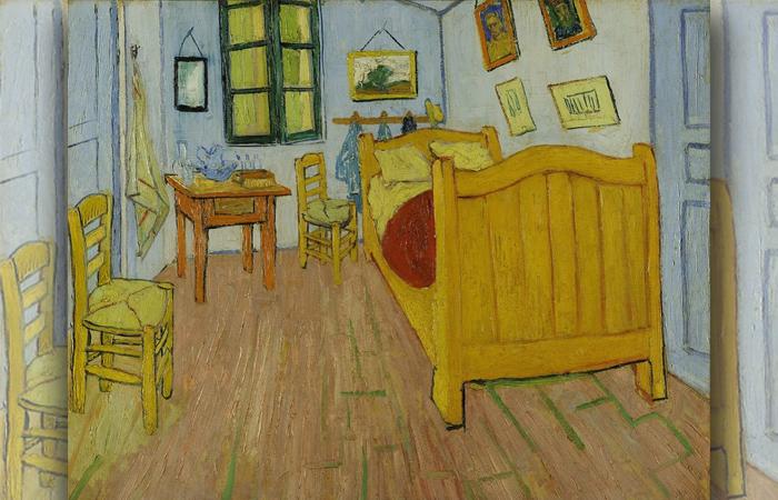 «Спальня в Арле», Первая версия, октябрь 1888 г. Холст, масло, 72 x 90 см, Музей Ван Гога, Амстердам.