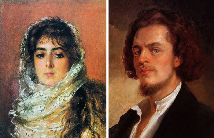 Портреты Маковского: «Портрет жены художника Ю.П. Маковской» (1887) и Автопортрет (1856)