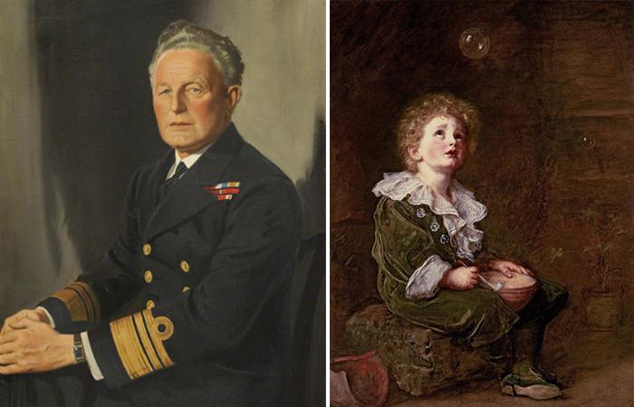 Герой с картины - внук художник (ставший адмиралом)
