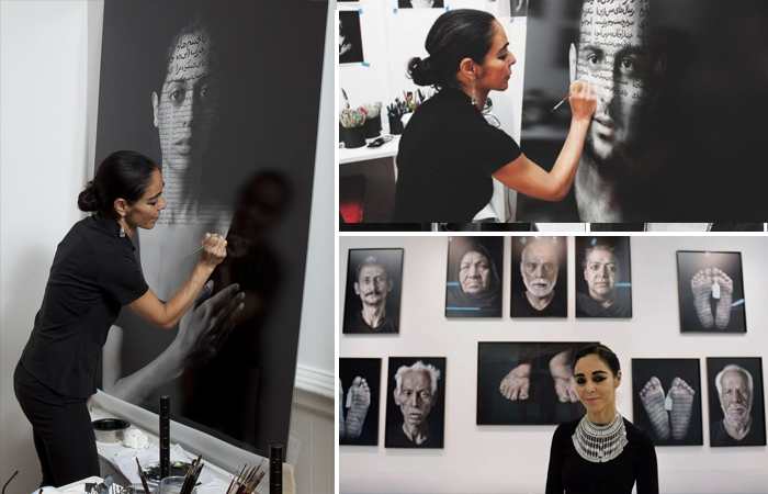 Ширин Нешат в процессе создания своих работ и на фоне своих фотографий