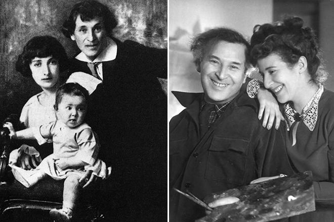 Марк Шагал с Беллой и дочерью