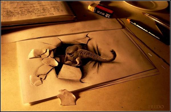 Карандашные 3D-иллюзии от Fredo