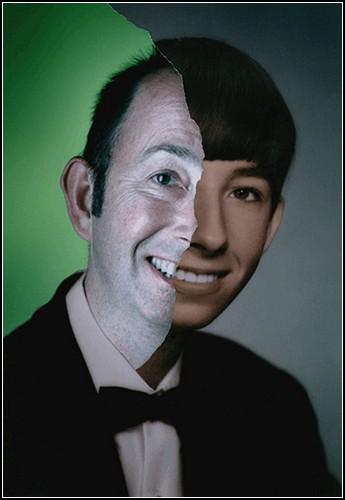 Фотоколлаж: портрет человека из прошлого и настоящего