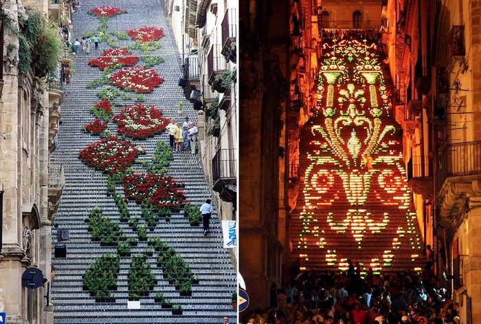 Праздник цвет и праздник огней в сицилийском городе Кальтаджироне