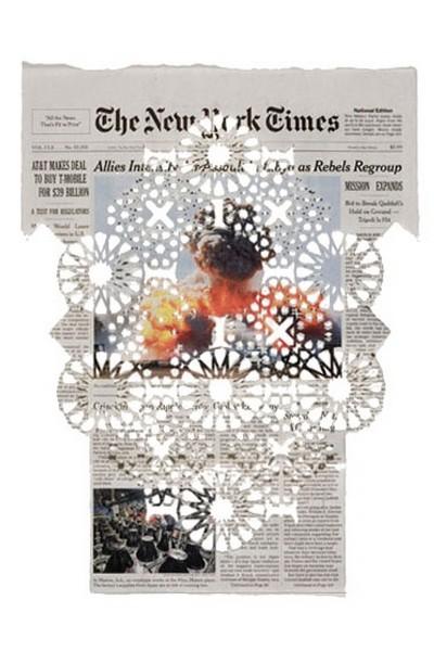 Финансовые кружева: газетные узоры от Донны Рафф (Donna Ruff)
