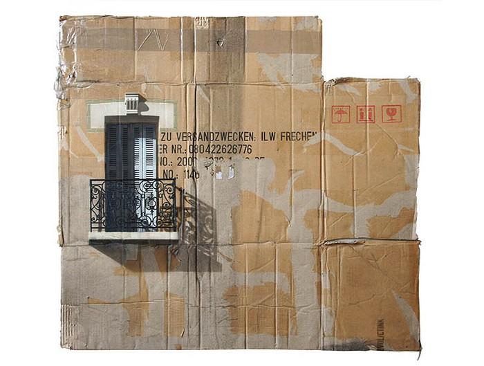 Урбанистика картонных коробок в творчестве художника Evol