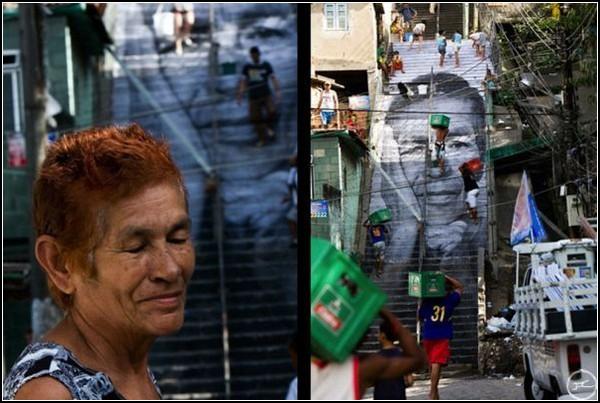Картина и модель на лестнице в Фавеле Morro da Providencia в Рио-де-Жанейро