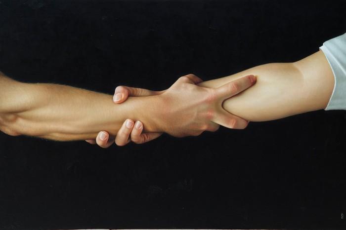 Гиперреальное рукопожатие в картине Salto de Fe от Омара Ортиза (Omar Ortiz)