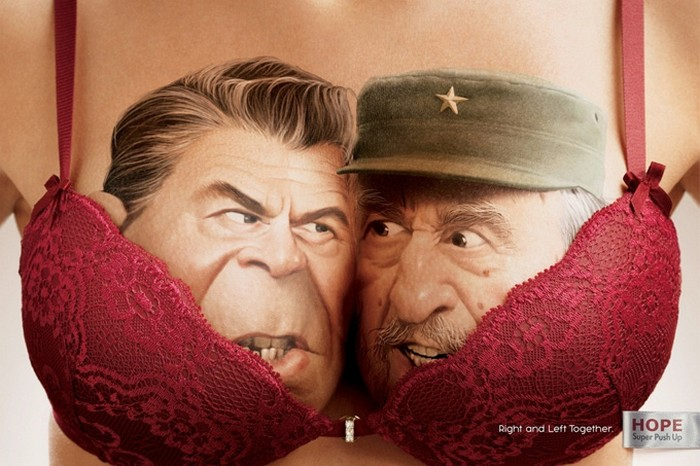 Политически-эротическая реклама белья push-up от компании Hope
