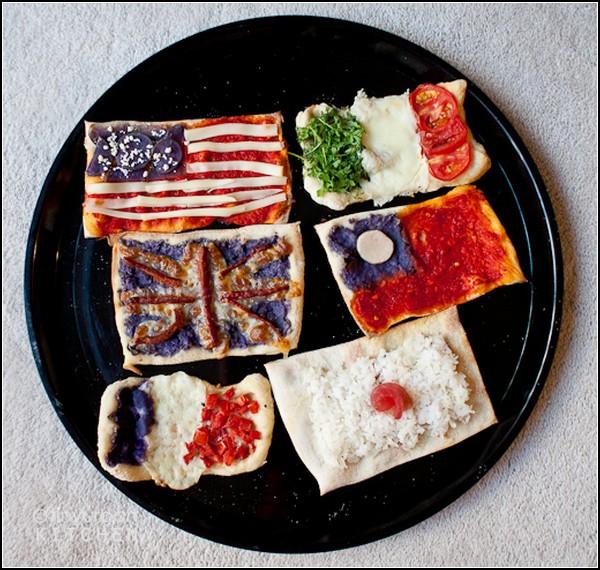 Пицца как символ глобализации. Миниатюрные пиццы-флаги от