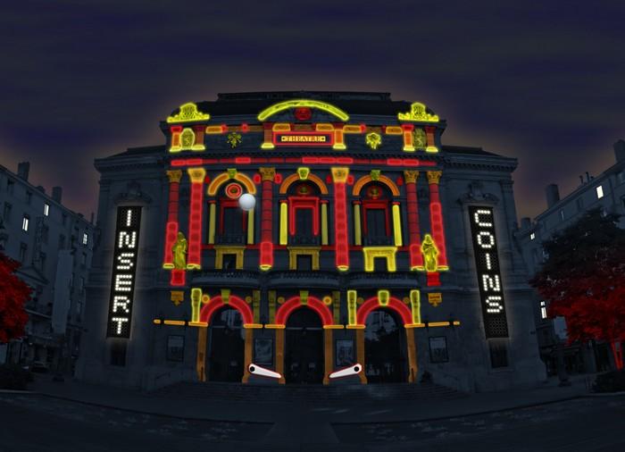 Urban Flipper – световой пинбол на фасаде театра в Лионе
