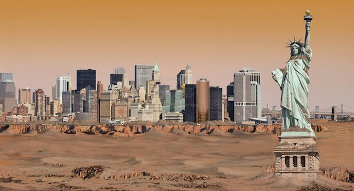 Нью-Йорк на Марсе. Иллюстрация Николая Ламма (Nickolay Lamm)