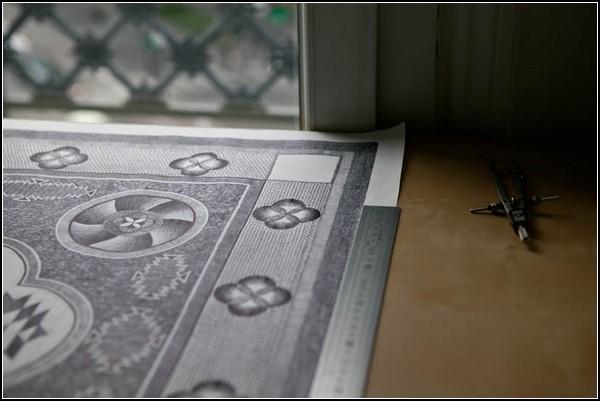 Молитвенный коврик при помощи шариковой ручки