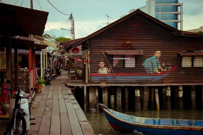 Картины на улицах Пенанга от Эрнеста Захаревича (Ernest Zacharevic)